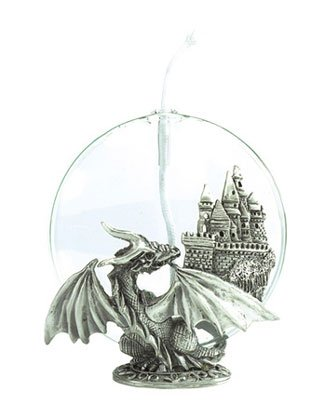 Oil Lamp With Pewter Dragon Stand