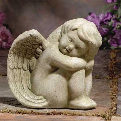 Stone-Finished Sitting Angel