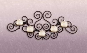 Wrought Iron Swirl Wall 5-Candle Holder