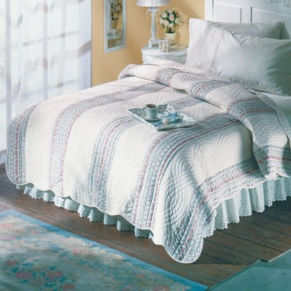 Blue Floral Queen Quilted Comforter