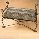 Metal Bench with Leopard Print Cushion