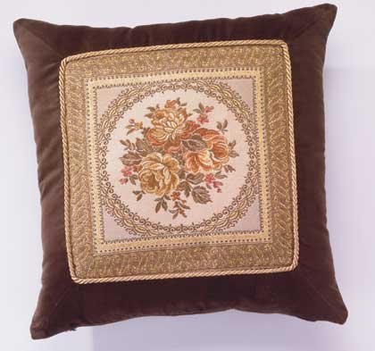 Brown Velvet Floral Cushion