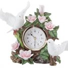Porcelain Doves & Flowers Quartz Clock
