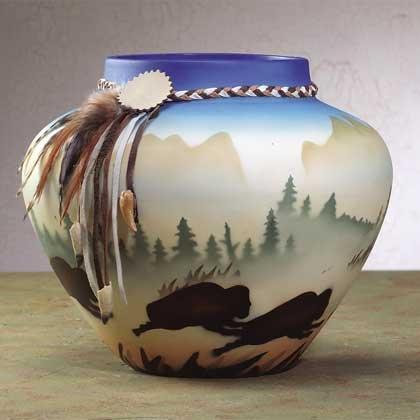 Southwestern Vase with Buffalo