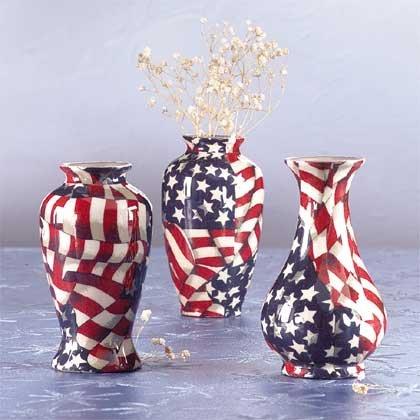 Mini American Flag Patchwork Vases