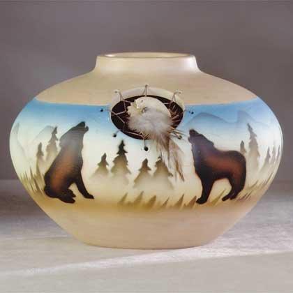 Southwest Vase with Faux Windcatcher