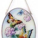 Art Glass Flower, Butterfly Suncatcher