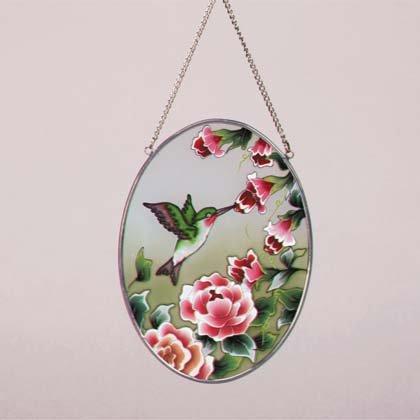 Oval Glass Suncatcher with Hummingbirds