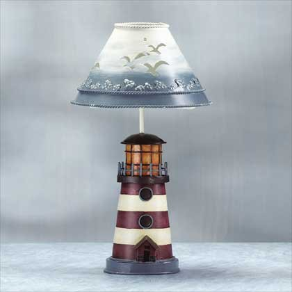 Painted Metal Lighthouse Candle Holder