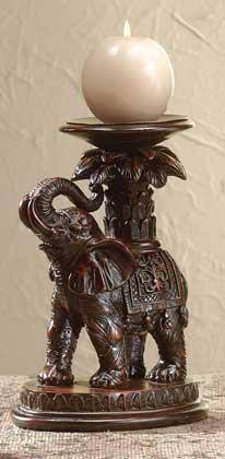 Elephant and Palm Tree Candle Holder