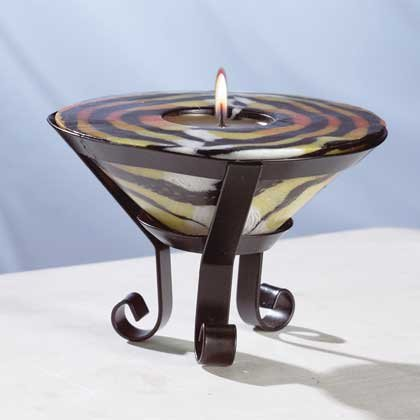 Tiger Stripe Cone-Shaped Candle