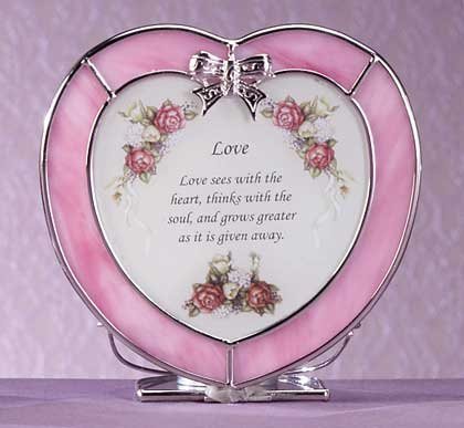 "Heart-Shaped ""Love"" Plaque and Candle Holder"