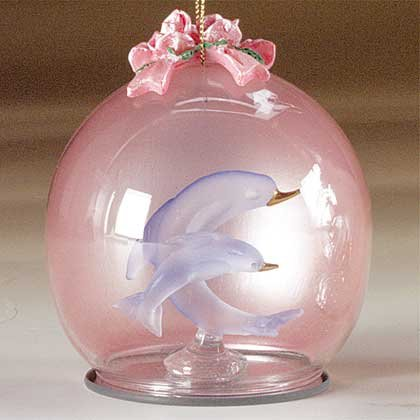 """Glass Christmas Ornament """"Dolphins"""""""