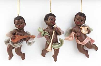 Cherub Musician Ornaments (Set of 3)