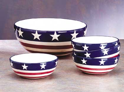 American Flag Salad Bowl Set