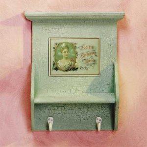 Crackle Finish Green Coat Hanger-Wall Shelf