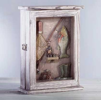 Wood Fishing Shadowbox Keyholder