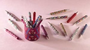 20 Jeweled Pens in Holder