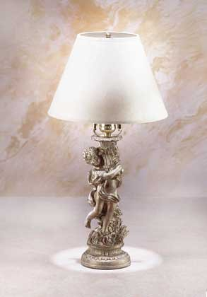 Antiqued Gold-Tone Cherub Lamp