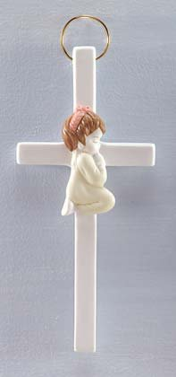 Girl Porcelain Cross Wall Plaque