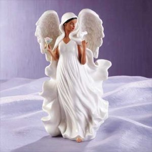 Porcelain Afro-American Angel With Dove