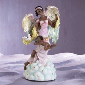 Musical Black Angel With Cherub & Dove