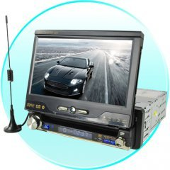 1-DIN Car GPS + DVD + Bluetooth System with 7 Inch Touchscreen