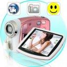 Paris - Digital Camcorder w Face Detection, 8x Zoom (Pink)