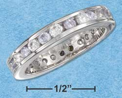 STERLING SILVER CZ & SYNTHETIC PALE ALEXANDRITE JUNE ETERNITY BAND 3MM WIDE