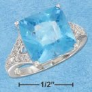 STERLING SILVER RP 11MM SQUARE SYN BLUE TOPAZ RING WITH PAVE SPLIT SHANK