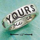 """STERLING SILVER """"FOREVER YOURS"""" W/ """"I LOVE YOU"""" INSIDE BAND"""