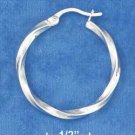 STERLING SILVER 30MM SQUARE STOCK TWISTED HOOP EARRINGS WITH FRENCH LOCKS