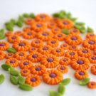 100 MINI FLOWERS & LEAVES ARTS CLAY DOLLHOUSE MINIATURE