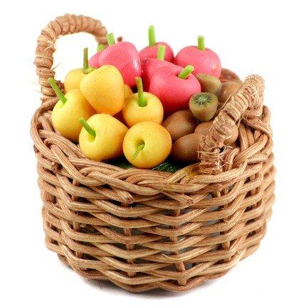 FRUIT BASKET HANDCRAFT CLAY DOLLHOUSE MINIATURE SALE