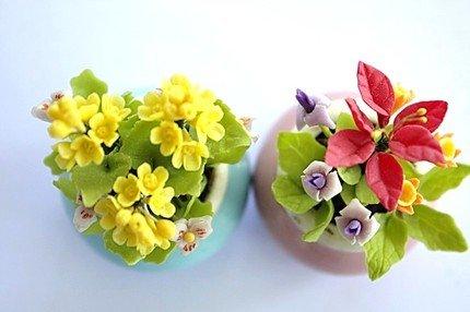 SET OF2 FLOWER DOLLHOUSE MINIATURES ART CLAY HANDMADE