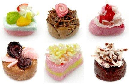 6PCS MINI SWEET CAKE ARTS CLAY DOLLHOUSE MINIATURE 1:12