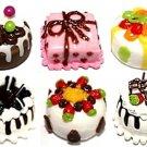 6 MINI CAKE HANDMADE ARTS CLAY DOLLHOUSE MINIATURE 1:12