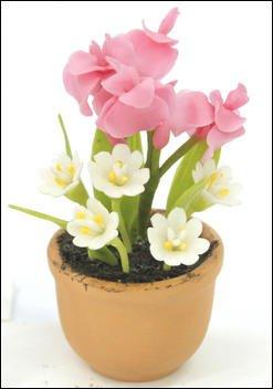 FLOWER DOLLHOUSE MINIATURES CRAFT CLAY HANDMADE SALE#28