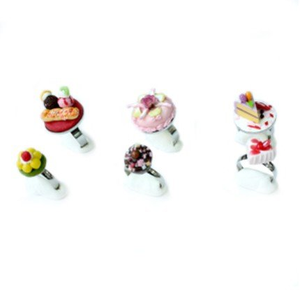 Set of 6 pieces Yammy Cake Adjustable Rings Jewelry #1