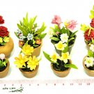 Dollhouse Miniature-8 Pieces Clay Flower In Pot NBR74