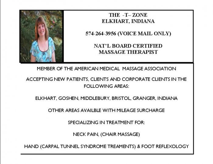 THE T ZONE-ELKHART, INDIANA-6 HR CORPORATE BOOKING:CHAIR MASSAGE/REFLEXOLOGY FOR CARPAL TUNNEL