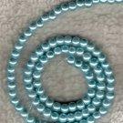 100 Pcs 4mm Aqua Baby Blue Glass Pearl Beads