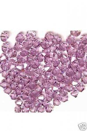 25 Swarovski Crystals Light Amethyst 4mm 5301 Bicone