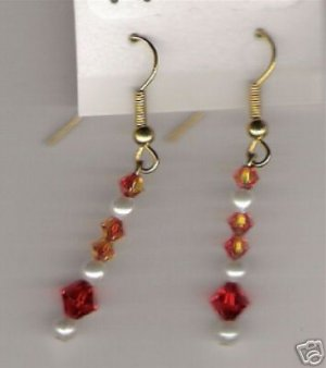 HANDCRAFTED Swarovski Crystal Lt Siam Fire Opal Earrings