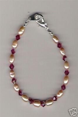 HANDCRAFTED Pearl & Swarovski Crystal Little Girl Bracelet