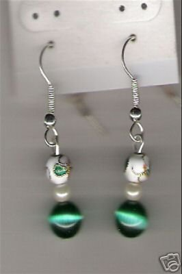 HANDCRAFTED Cloissone & Green Cats Eye Earrings - NICE