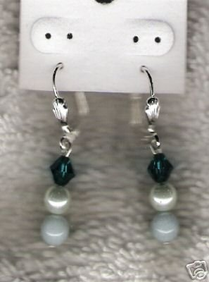 HANDCRAFTED Swarovski Crystal & Amazonite Leverbacks