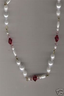 HANDCRAFTED Swarovski Crystal & Pearl Necklace 19""
