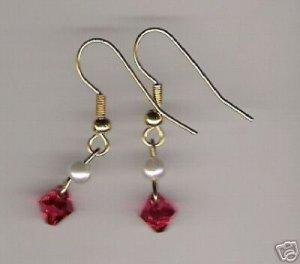 HANDCRAFTED Swarovski Crystal Padparadscha Pendant Earrings