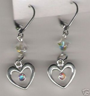 HANDCRAFTED Swarovski Crystal Clear AB Heart Charm Earring